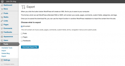export wordpress site settings