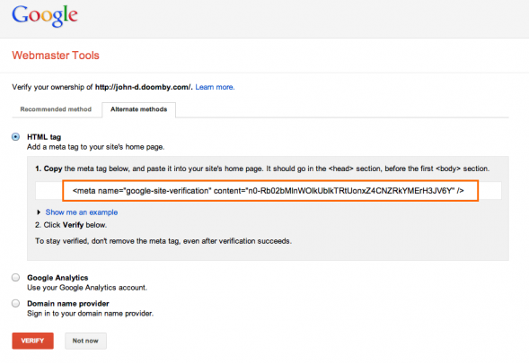 2 copy webmaster tools validation code