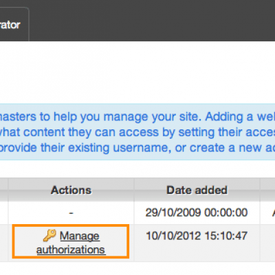 manage webmaster authorizations