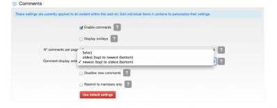 7 define comment display order