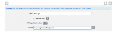 Add a multiple choice field to a contact form