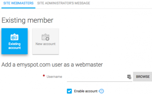 Add existing member as webmaster