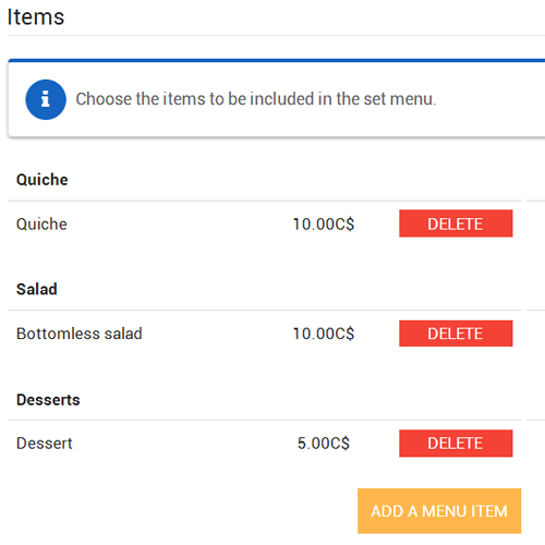 Added items set menu