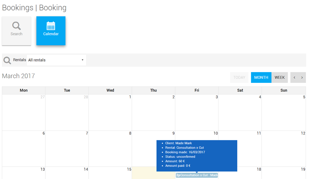 Booking calendar confimation