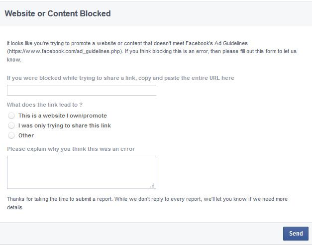 Website URL Blocked by Facebook | emyspot