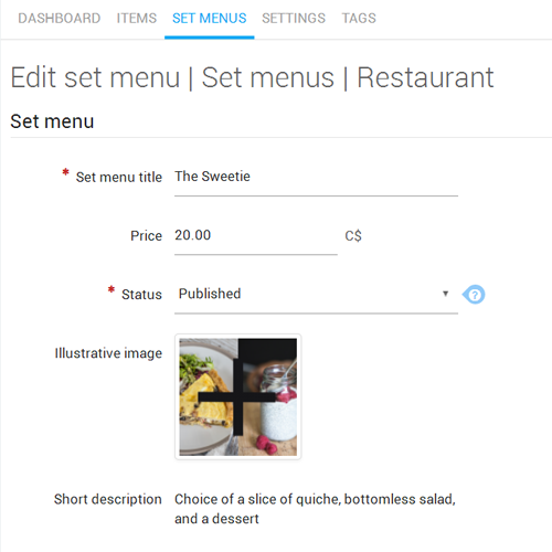 Edit set menu