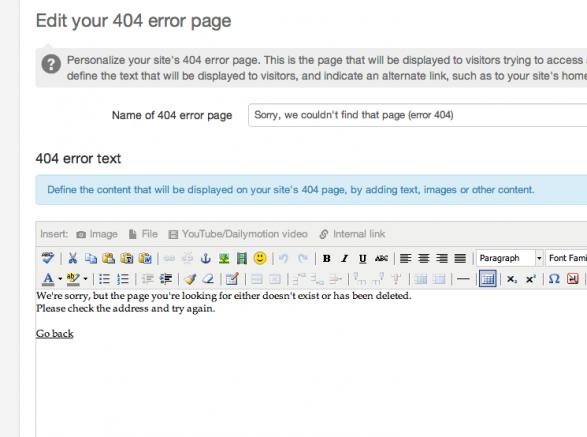 Edit site 404 page