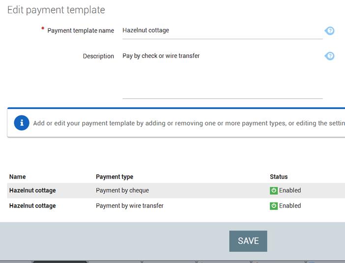 Payment template hazelnut