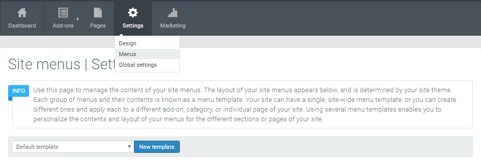 Site menu template